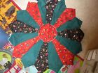 Christmas holiday winter red quilted round table topper quilt chic country cute
