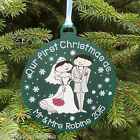 Personalised Wedding Couple First Christmas as - Tree Bauble Decoration Gift
