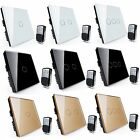 1/2/3 Gang 1 Way Crystal Glass Panel Touch Light Switch 4 key Remote Controller