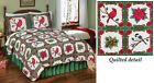 Collections Etc Festive Holiday Cardinal Poinsettia Quilt