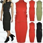 Womens Turtle Neck Slinky Side Lace Up Ribbed Midi Ladies Bodycon Dress