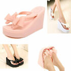 Fashion Womens Rubber High Heel Platform Wedge Sandals Beach Flip flops New
