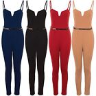 Womens Strappy Sleeveless Square V Neck Crepe Gold Belted Plain Jumpsuit