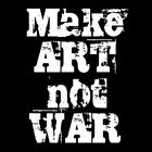 MAKE ART NOT WAR (anti stop fascism antifa peace emblem logo artist) T-SHIRT