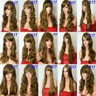 Brown Highlight Natural Long Curly Straight Wavy Women Fashion Ladies Lady WIG