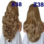 LIGHT GOLD BROWN Long Curly Layered Half Wig Hair Piece Ladies 3/4 Wig #12/14