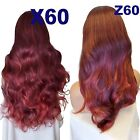 REAL RED BLACK Long Curly Layered Half Wig Hair Piece Ladies 3/4 Wig Fall #1T139