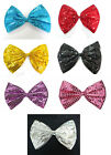 Glitter Sparkly Sequin Clown Joker Jumbo Large Bow Tie Fancy Dress Costume Party