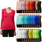 NE PEOPLE Womens Comfy Light Weight Basic Long Sleeve V Neck T Shirt NEWT90