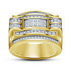 White CZ 925 Pure 14K Yellow Gold Finished Fancy Engagement Men's SPL Ring