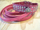 Crown or Ring, Bling Rhinestone PU Leather Collar and Leash Set 4 Small Dogs