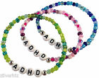ADHD Glass Seed Bead Elastic Bracelet White Letter Beads 9 Colours ADD