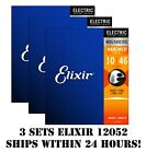*3 SETS ELIXIR NANOWEB 12052 NICKEL PLATED ELECTRIC GUITAR STRINGS LIGHT -10-46*