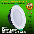 """18W 4"""" 120mm cutout dimmable led downlight kit IP44 white fitting 3000K/5000K"""