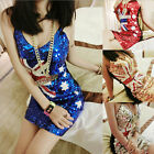 Sexy Women Mini Dress Aus Flag Shiny Sequin Low-cut DJ Bar Strap Dancing Club