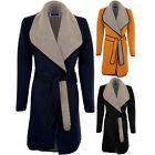 Women's Grey Collar Contrast PVC Long Sleeve Tie Up Belted Wrap Trench Jacket