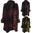 Womens Tie Dye Batwing Sleeve Detachable Fur Scarf Collar Fleece Jacket Cape