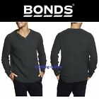 BONDS MENS CHUNKY KNIT V NECK LONG SLEEVE OLIVE GREEN JUMPER CASUAL TOP LARGE