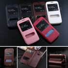 Fashion Flip Dual View Double Window Stand PU Leather Cover Case For Samsung