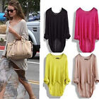 Womens Ladies Long Sleeve Batwing Knit Knitted Oversize Baggy Sweater Jumper Top