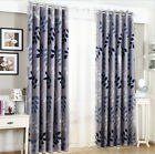 Blockout Eyelet Curtains Country Style Leaves Bedroom Study Lounge Floral Blue
