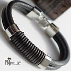 Mens Corded Two Strand Stainless Steel Clasp Leather Wristband Bracelet