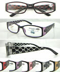 L355 30pc Diamante Detail Plastic Reading Glasses/Lazer Cut Design/5 Colours