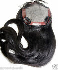 Silk Top Full Lace Closure Silky Yaki Human Indian Remy Hair Partial Wig Black