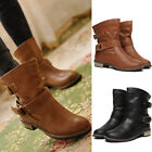 NEW WOMENS Mid-Calf Flat BLOCK PLATFORM ANKLE SHOES SHORT Biker Martin BOOTS
