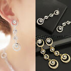 New Fashion Women Elegant Crystal Rhinestone Dangle Ear Stud Earrings Jewelry