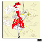 Retro Vintage Fashion Girl Abstract BOX FRAMED CANVAS ART Picture HDR 280gsm
