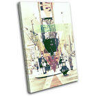 New York Abstract Geometric City SINGLE CANVAS WALL ART Picture Print VA