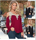 New Warm Women's Cotton Sexy Lace V Collar Long Sleeve T-Shirt Tops Blouse