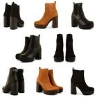 WOMENS LADIES CHUNKY HIGH HEEL PLATFORM GUSSET CHELSEA BIKER ANKLE BOOTS SHOES