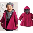 Toddler Kids Baby Girls Winter Warm Trench Coat Hooded Outerwear Jacket Clothes
