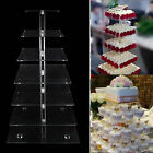 3-7 Tier Crystal Clear Square Acrylic Cupcake Tower Stand Wedding Birthday Decor