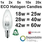 E14 SES ECO Halogen Candles 18w = 25w, 28w = 40w, 42W = 60W Energy Saving Light
