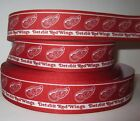 "GROSGRAIN DETROIT RED WINGS HOCKEY 1"" PRINTED GROSGRAIN FOR HAIR BOWS CRAFTS $7.19 USD on eBay"