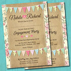 Personalised Engagement Party Invitations & Envelopes *Pastel Bunting