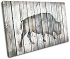Bison Vintage Wood Animals SINGLE CANVAS WALL ART Picture Print