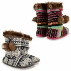 WOMENS LADIES GIRLS KNITTED FUR WARM LINED COSY PLUSH SLIPPERS BOOTIES SHOES