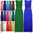 New Womens Ladies Casual Plain Belted Vest Racer Muscle Back Long Maxi Dress Top