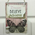 Dream Believe Achieve Vintage Retro Chalkboard Sign Gift Shabby Chic Wall Plaque