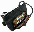 Genuine Leather 3 in 1 Cross body Shoulder Slim Purse w/ Organizer Medium Black