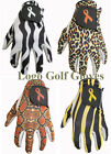 4 Cabretta Leather Golf Gloves Animal Print Ribbon Logo Ladies Small Medium Lge