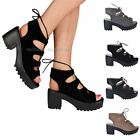 WOMENS LADIES MID BLOCK HEEL PLATFORM LACE UP STRAPPY CUT OUT SHOES SANDALS SIZE