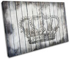 Crown Shabby Chic Vintage SINGLE CANVAS WALL ART Picture Print