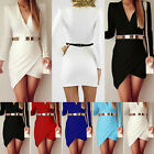 Sexy Womens Bandage Bodycon Long Sleeve Evening Party Cocktail Short Mini Dress