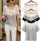 UK 8-24 Sexy Womens Hollow Lace Crochet Batwing Short Sleeve T Shirt Blouse Top