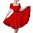 Heart of Haute Red Simone El Gato Retro/Rockabilly Cat Print Circle Dress XS-3XL